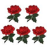 Healifty - Parches bordados con flores de peonía, para decorar abrigos,...