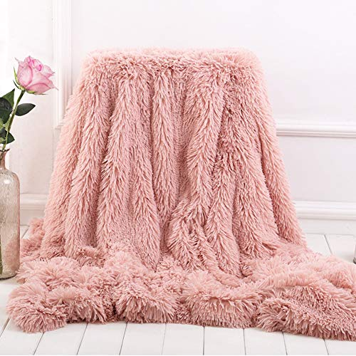 Bantie Superweiche, lange Zottel-Überwurfdecke aus Fleece für Sofa, Kuscheldecken für Erwachsene, warm, elegant, gemütlich, mit flauschiger Decke, Tagesdecke, geeignet für Sofa oder Bett (rosa)