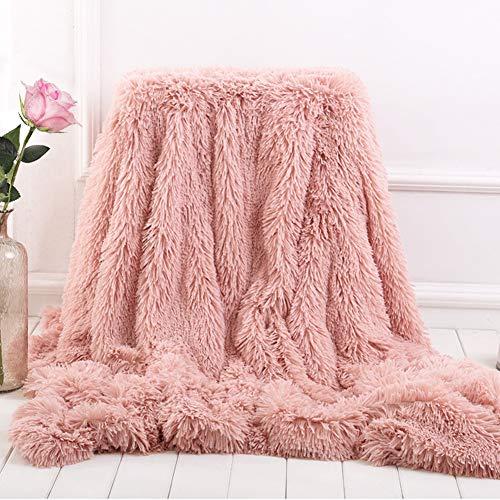 Bantie Superweiche, lange Shaggy-Decke, Fleecedecke für Sofa, Kuscheldecken für Erwachsene, warm, elegant, gemütlich, mit flauschiger Decke, Tagesdecke, geeignet für Sofa oder Bett (rosa)