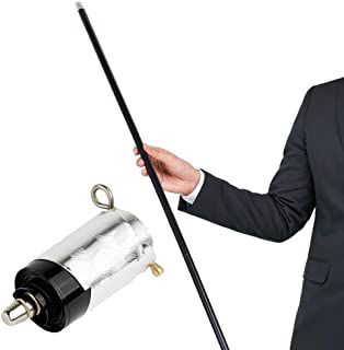 """Xfunjoy 43.30""""/110cm Black Metal Appearing Cane with Free Gloves and Video Turorial, Pocket Bo Staff Magic Wand Stage Close-up Magic Trick"""