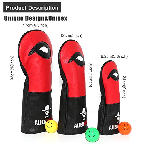 Aliennana Golf Club headcovers Set 3pcs/Set Leather Hand-Made 1 Wood Driver Head Cover Fairway Golf headcvoer Hybird Covers Golf Club Wood Head Eyes for Titleist, Epic, Ping G, M6, PXG GEN2