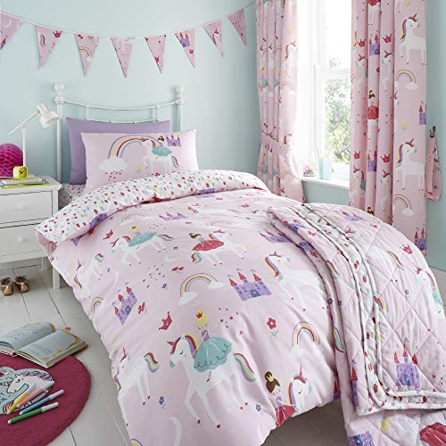 Happy Linen Company Girls Kids Unicorns Princess Rainbows Pink Single Reversible Duvet Cover Bedding Set