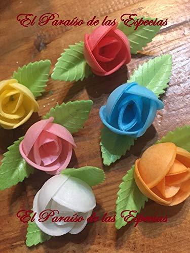 Flores de Oblea Papel de Arroz - Decoraciones Repostería -10 Unidades Surtidas de Colores