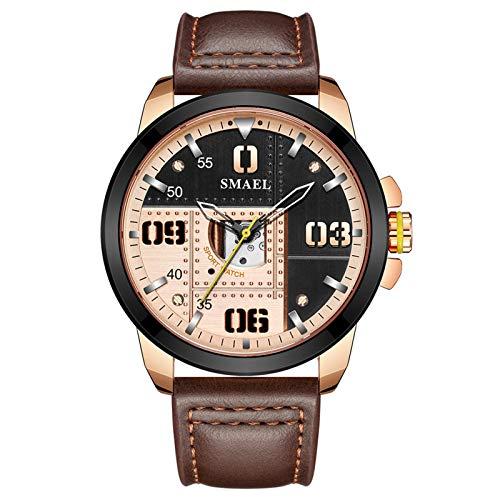 JTTM Armbanduhr für Männer, echte Lederbanduhren, Quarzwerk, wasserdichte analoge Chronograph Businessuhren,Braun