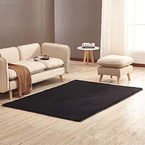 Alfombra de diseño de pelo corto, rectángulo, para salón, dormitorio, comedor o habitación infantil, Negro , 80*200cm