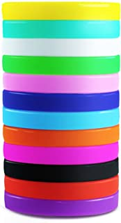Etmact 12pcs Blank Silicone Wristbands, Soft And Comfortable Rubber Bracelets, Assorted Colors