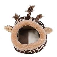 SIKIWIND ペットマット ドームベッド ハムスターの巢 保温 スリッパ様 秋冬小屋 (S, ブラワン)