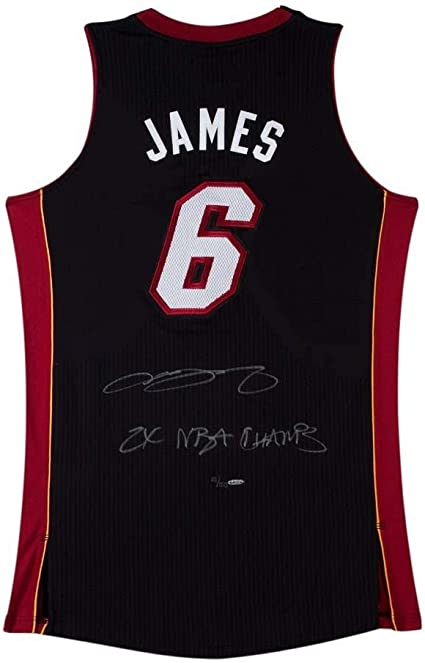 """LeBron James Signed & Inscribed """"2x NBA Champs"""" Authentic Miami ..."""