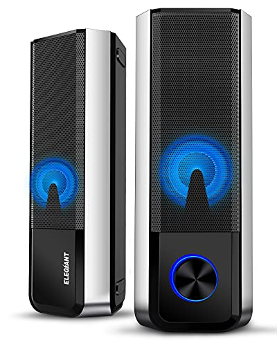ELEGIANT PC Lautsprecher, Bluetooth 5.0 Computer Lautsprecher trennbare 2.0 Kanal Stereoanlage Mini Soundbar mit Einstellbarer 4 LED Licht Modi für PC Computer Desktop Notebook Smartphone