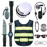 wangxike Deguisement Policier Enfant 13 Pièces, Costume de Police Enfants Jouets Jeu de rôle Accessoire de Police Idéal pour Halloween Dress Up Jeu de Police