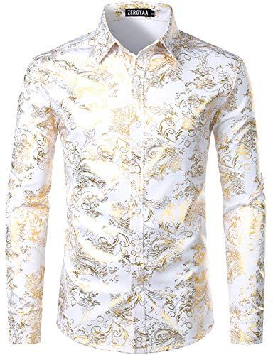 ZEROYAA Men's Luxury Paisley Gold Shiny Printed Stylish Slim Fit Button Down Dress Shirt ZLCL18 White Gold XX-Large