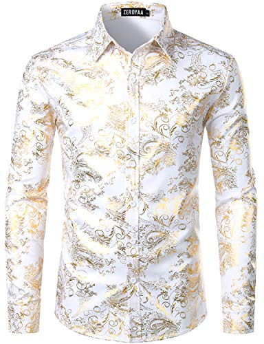ZEROYAA Men's Luxury Paisley Gold Shiny Printed Stylish Slim Fit Button Down Dress Shirt ZLCL18 White Gold XX-Large