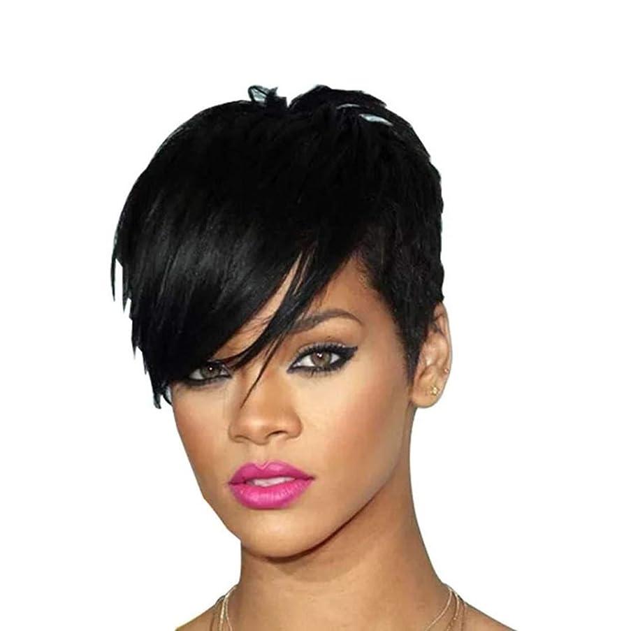 アクロバット不承認餌Kerwinner 女性の斜め前髪高温シルクウィッグヘッドギアで短いストレートヘアウィッグ