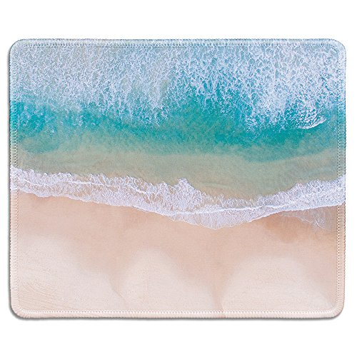 dealzEpic - Art Mousepad - Natural Rubber Mouse Pad Printed with Aerial View of Tropical Beach with Clear Sea Waves - Stitched Edges - 9.5x7.9 inches
