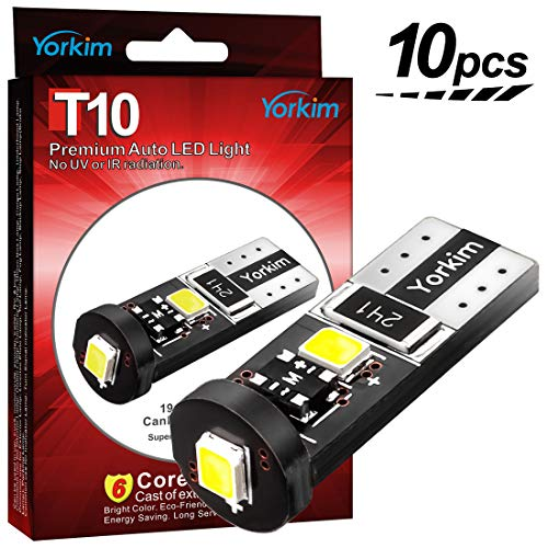 Yorkim 194 Led Bulb Canbus Error Free 3-SMD 2835 Chipsets, T10 Interior Led for Car Dome Map Door Courtesy License Plate Trunk Lights with 194 168 W5W 2825 Sockets Pack of 10, Orange