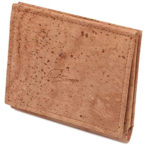 SIMARU® Kork Geldbörse Geldbeutel Mini mit RFID Schutz, Portemonnaie für Männer und Frauen,kleine Geldbörse Nachhaltig und Vegan (Beige)