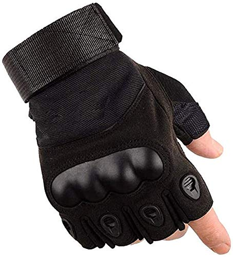 AOAKY - Guantes antideslizantes sin dedos para ciclismo, moto, senderismo, camping, caza, combate, scooter, deportes al aire libre, Airsoft (negro)