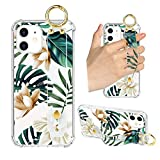 iPhone 12 Clear Case White Floral Green Leaves Wrist Hand Strap Band Kickstand Cell Phone TPU Bumper Cute Flowers Pattern Protective Transparent Cover Case for Women Girls for iPhone 12/12 Pro 6.1'