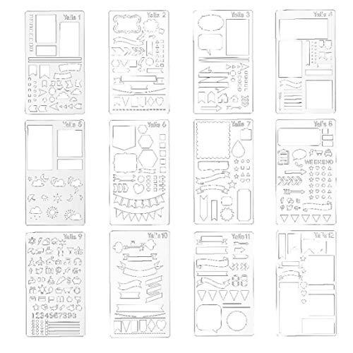 Bullet Journal Stencil DIY Journal Dessin Modèle pour ordinateur portable Journal Journal Scrapbook bricolage Dessin modèle 12pcs