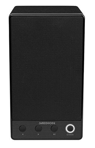 MEDION P61084 WLAN Multiroom Lautsprecher (Party Modus, Spotify Connect, DLNA, USB, Aux-in, Steuerung über App, 18 W, Push to Connect) Schwarz