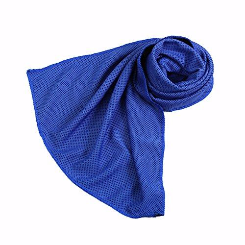 OUNONA Serviette de Refroidissement Serviette de Glace pour Séchage Rapide pour Pilates Voyage Camping Golf Randonnée 90 x 30 cm (Bleu foncé)