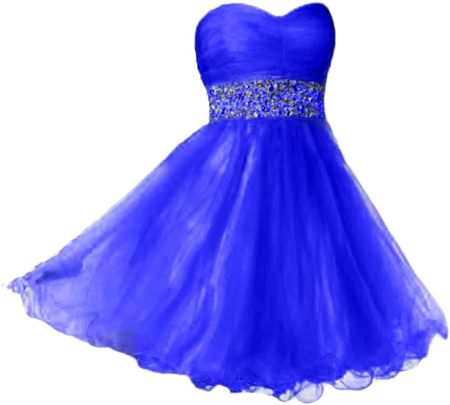 Beilite Sweetheart Beaded Tulle Short Homecoming Dress Party Gown
