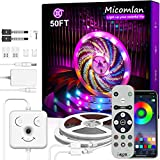 Micomlan - Tira de luces LED de 15 m, sincronización de música, cambio de color, luces LED RGB con mando a distancia, controlador de cara sonriente y tira controlada por Bluetooth para decoración...