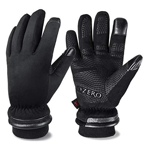 OZERO Herren Winterhandschuhe, Touchscreen Lederhandschuhe Skihandschuhe Fahrradhandschuhe