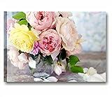 Quadri L&C ITALIA Rose Vintage 8 - Quadro Fiori Shabby Chic per Soggiorno Camera da Letto Cucina Bagno 70 x 50 Stampa su Tela da Parete