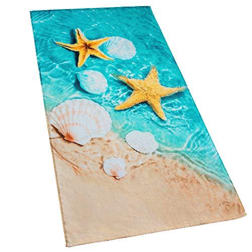 Starfish & Seashells Beach Towel 30 x 60 inch Velour Terry 100% Cotton, Blue and Sand