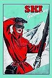 Señal metálica Curvada para Esquiador de la Chaqueta roja de Ski Germany, 20 x 30 cm