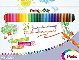 Pentel SCS2E Feutres de Coloriage Enfants à Encre Ultra-Lavable et Pointe Moyenne - Couleurs Assorties