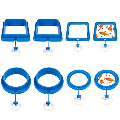 Yangfei 8pcs Anillo de Comedero de Peces, Accesorios para Comedero Automatico Peces, Anillo de Alimentación con Ventosa para Alimento para...