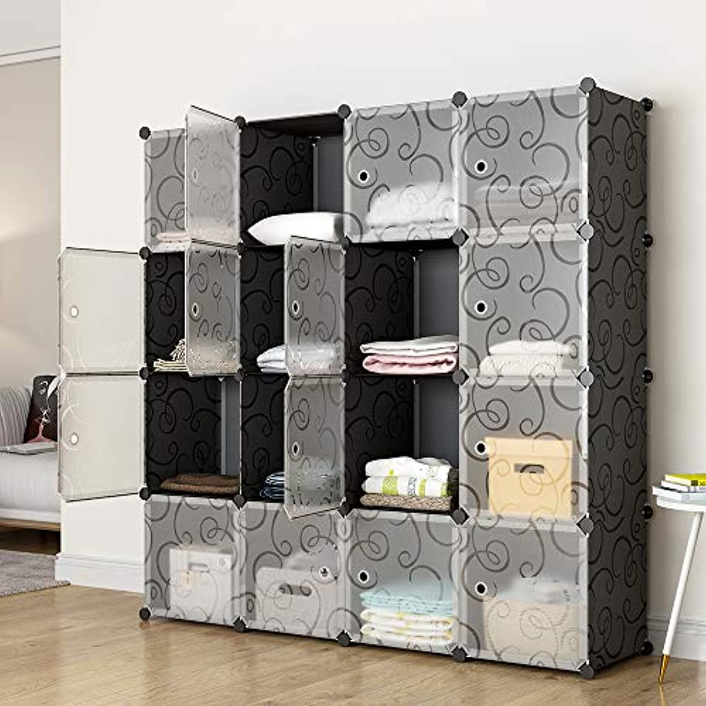 KOUSI Portable Storage Cube Cube Organizer Cube Storage Shelves Cube Shelf Room Organizer Clothes Storage Cubby Shelving Bookshelf Toy Organizer Cabinet, Black, 16 Cubes