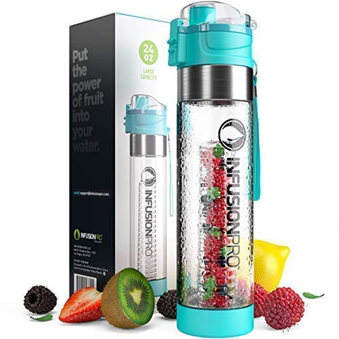 Infusion Pro Water Infuser – 24 oz Fruit Infused Water Bottle   Premium Leak Proof Tritan Plastic with Bottom Infusing Design   Flip Top Locking Spout with Neoprene Insulated Sleeve & Strainer