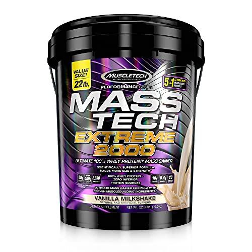 Mass Gainer Protein Powder | MuscleTech Mass-Tech Extreme 2000 | Muscle Builder Whey Protein Powder | Protein + Creatine + Carbs | Max-Protein Weight Gainer for Women & Men | Vanilla, 22 lbs