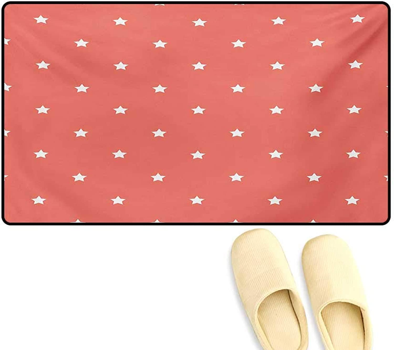 Door-mat,Minimalist Neat Star on Empty Outer Space Elements Themed Greeting Design Image,Bathroom Mat Tub Non Slip,Coral White,20 x32