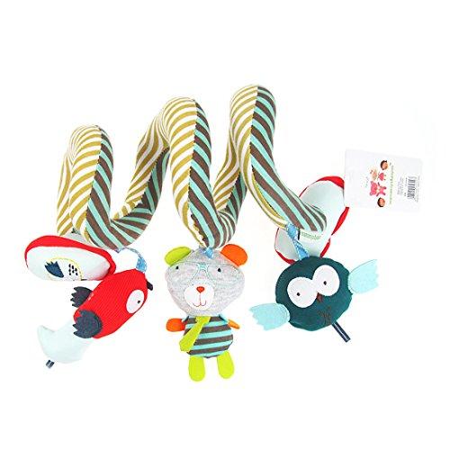 APig jouets bébé voyage avec miroirs de cloches, tout - petits jouets en peluche pour lit don spirale musicale poussettes siège