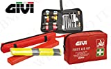 KIT GIVI alta sicurezza in moto con triangolo catarifrangente, gilet fluorescente, kit pronto soccorso e kit ripara gomme tubeless