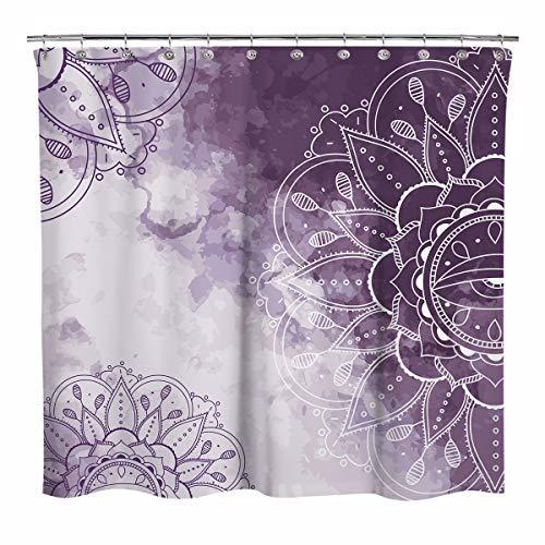 Sunlit Design Watercolor Bohemian Fabric Shower Curtain, Line Drawings Mandala Bathroom Decoration Boho Shower Curtains, Purple