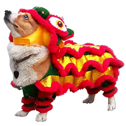 Adarl Lion Dance Dog Costume with Beast Horn, Chinese New Year Dog Costume, Also Suit for Halloween, Cosplay and Christmas,Red/M
