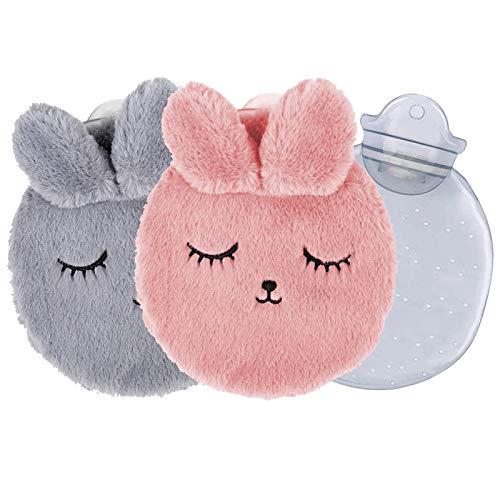 2 Stück Wärmeflasche mit kuschelweichem, Siebwin Wärmflasche mit weichem Bezug, Wärmflasche Kinder, 300ML Wärmflasche für den Hand Fuß Körper Warmhalten (Hellgrau + Pink)