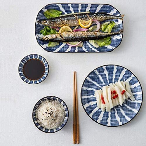 NHLBD Haili Tableware, Japanische Art-Besteck Set Retro Hand bemalte Keramik-Schüssel Big Fish Plate Haushalt Shallow Suppenteller Blau Kleiner Rice Bowl