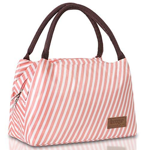 Newox buringer Lunchtasche Lunch Bag süße Kühltasche für Lunchboxen Wasserdichtes Gewebe Faltbare Picknick-Handtasche für Frauen, Erwachsene, Studenten und Kinder (Pink Stripes)