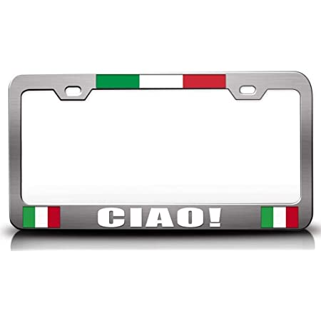 Auto Accessory Chrome METAL License Plate Frame Made In Italy tri-color
