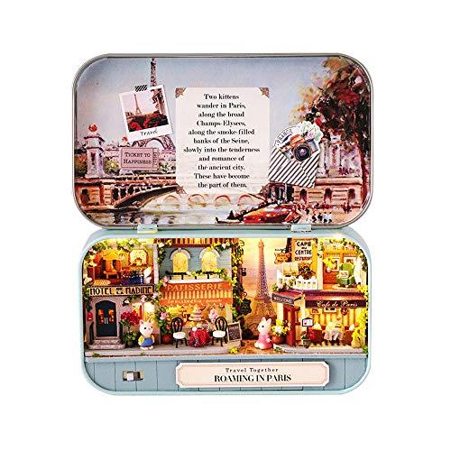 Decdeal DIY Mini casa de muñecas de Madera Miniaturas Dollhouse Box Theatre Assemble Kit Modelo de Casa en Miniatura Simulación Autoinstalada Muebles LED Mejor Regalo de Cumpleaños Navidad Fiesta