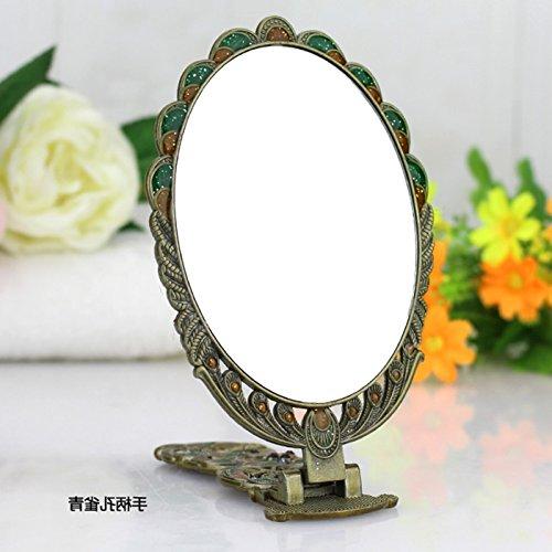 Mangeoo Fédération de miroir, table top princess, portable poignée, rétroviseur rabattable, à main retro Peacock, imitation miroir en cuivre,Peacock green