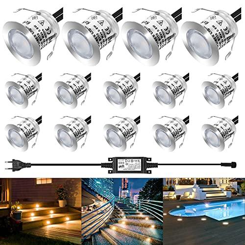 LEDMO Focos LED Empotrables de Suelo para Exterior, 14PCS Focos Empotrables Techo Impermeable IP67, 3000K, Lámpara de Subterránea para Senderos Terrazas Maderas Piscinas Escaleras