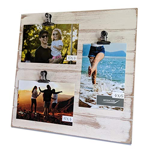 Modicum | Shiplap Photo Display Board - Picture Frame with Clips for 3 Photos (Three 4x6 or Two 4x6 with One 5x7), Easy Quick Change Photo Collage, Hang on Wall or Stand on Tabletop (Rustic White)