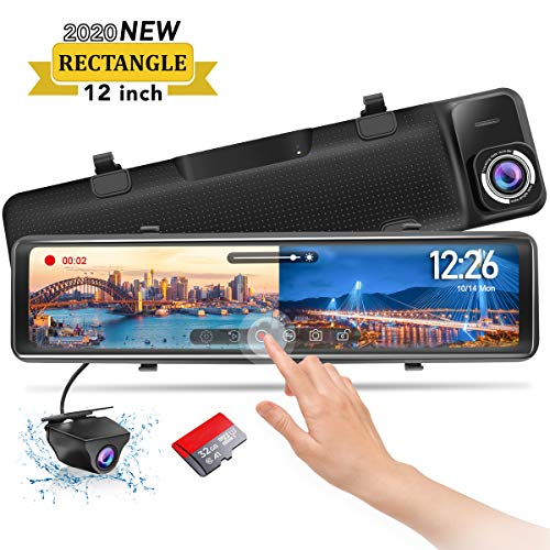 "PORMIDO Mirror Dash Cam-Backup Camera 12""Large Full Touch Split Screen Front and Rear View Camera 1296P HD Waterproof Back up Car Camera 170° Wide Angle,Starlight Night Vision,Parking Monitor, SD Card"